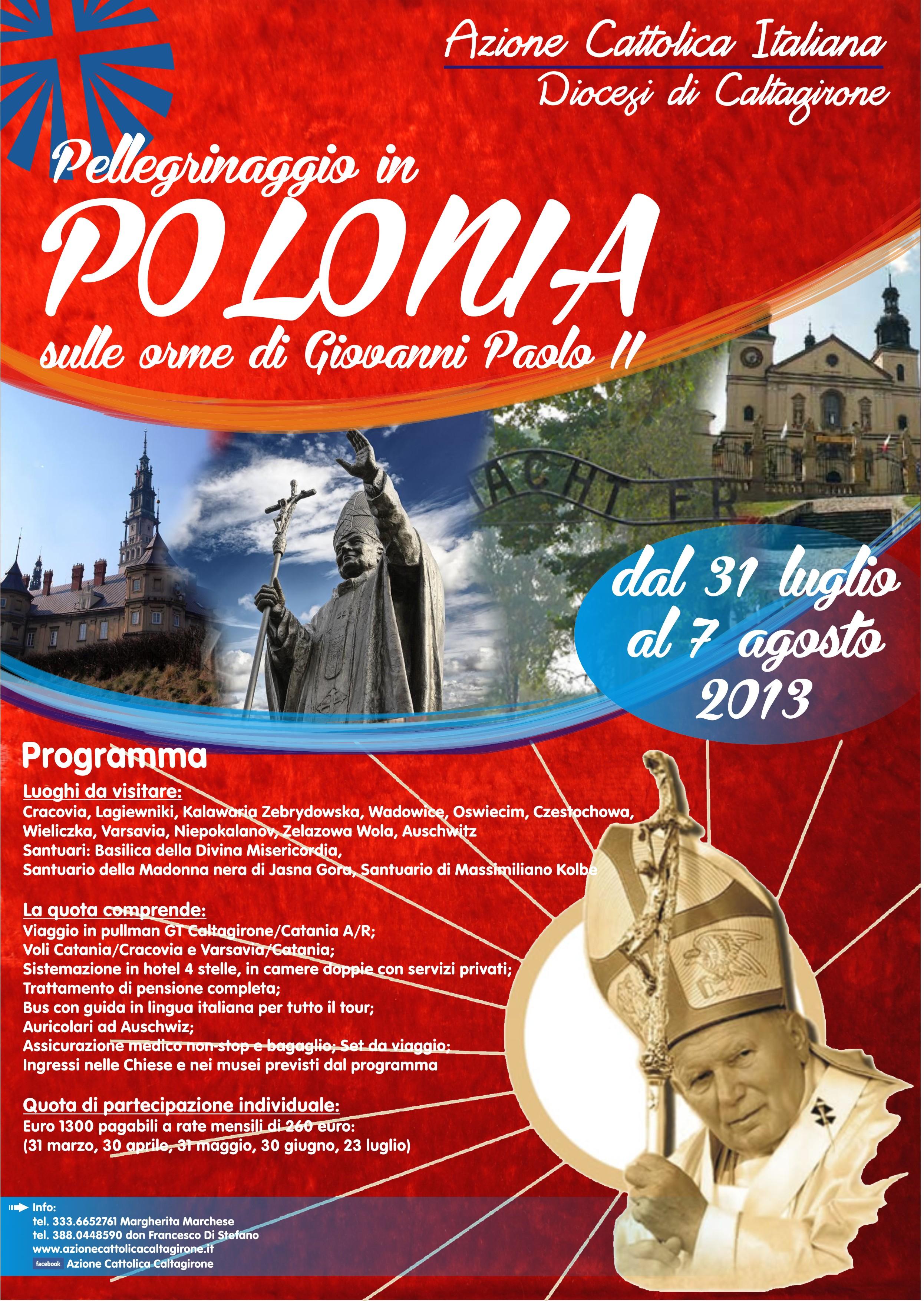 locandina pellegrinaggio in Polonia